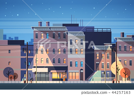 city building houses night view skyline background real estate cute town concept horizontal flat 44257163