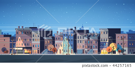 city building houses night view skyline background real estate cute town concept horizontal banner 44257165