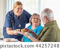 Nurse Serving Senior Couple Lunch at Nursing Home 44257248