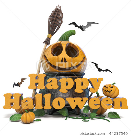 Happy Halloween text 3D 44257540