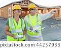 Construction Workers with Drone Inspect Job Site 44257933