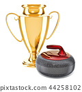 Gold trophy cup award and curling, 3D rendering 44258102
