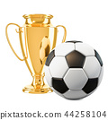 Gold trophy cup award and soccer ball 44258104
