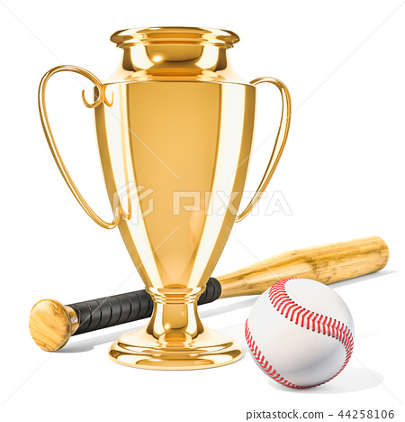 Gold trophy cup award with baseball ball and bat 44258106