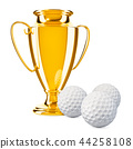 Gold trophy cup award with golf balls 44258108