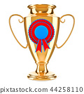 Gold trophy cup award with medal badge 44258110