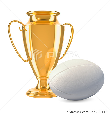 Gold trophy cup award with rugby ball 44258112