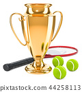 Gold trophy cup award with tennis ball 44258113