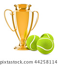 Gold trophy cup award with tennis ball 44258114