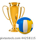 Gold trophy cup award with volleyball ball 44258115