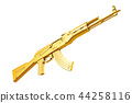 Golden assault rifle, 3D rendering 44258116