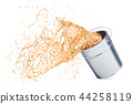 Golden paint splashing out of can, 3D rendering 44258119