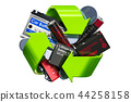 Green recycle symbol with batteries, 3D rendering 44258158
