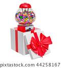 Gumball machine, gum dispenser inside gift box 44258167