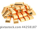 Heap of golden ingots closeup, 3D rendering 44258187