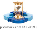 Hourglass with blue arrows, 3D rendering 44258193