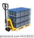 Hydraulic pallet jack with water bottles 44258202