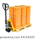 Hydraulic pallet truck with yellow barrels 44258205