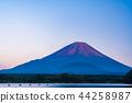 (야마나시 현) 精進湖에서 가을의 후지산 · 황혼 44258987