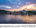 Sunset view of Prague city skyline in Czech 44259620