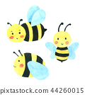 Bee watercolor cartoon isolate on white background 44260015