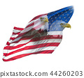 Double exposure  of  bald eagles on american flag. 44260203