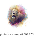 Lion head watercolor 44260373