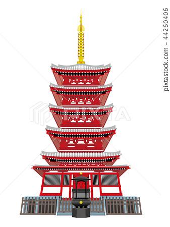 Five-storied pagoda of the main temple (Matsudo City, Chiba Prefecture) 44260406