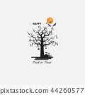 Full moon & Big tree Halloween abstract vector  44260577