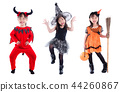 Little girl wearing Halloween costume standing  44260867