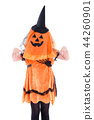 Little girl wearing Halloween costume over white  44260901