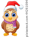 Cartoon owl wearing santa hat 44261094