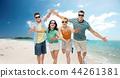 friends in sunglasses having fun on tropical beach 44261381