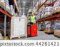 loader operating forklift at warehouse 44261421