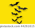 black halloween bats on yellow background 44261615