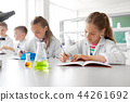 kids studying chemistry at school laboratory 44261692