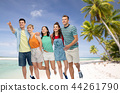 friends in sunglasses over exotic beach background 44261790