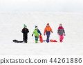 happy little kids with sleds sledging in winter 44261886