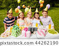 happy kids taking selfie on birthday party 44262190