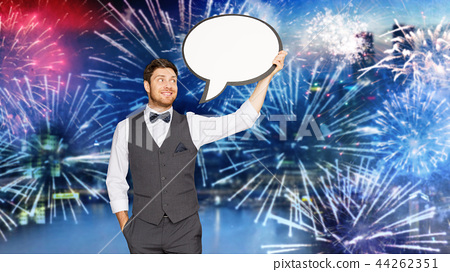 man in suit with blank text bubble over firework 44262351