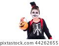 girl in halloween skeleton costume over white 44262655