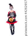 girl in halloween skeleton costume over white  44262657