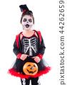 girl in halloween skeleton costume over white 44262659