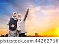 happy family over sunset in evening tallinn city 44262716