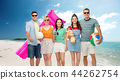 happy friends with beach and summer accessories 44262754