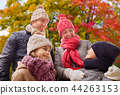 happy family over autumn park background 44263153