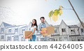 Composite image of happy young couple with moving boxes 44264005