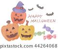 Illustration of halloween haunted pumpkin watercolor 44264068