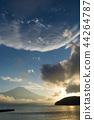 富士山 山中湖 暮色 44264787