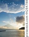 富士山 山中湖 暮色 44264788